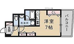 協同レジデンス摂津富田 7階ワンルームの間取り