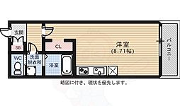 Biotop(ビオトープ)広瀬 2階ワンルームの間取り