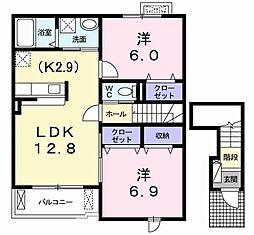 ウィンド ホライズン B 2階2LDKの間取り