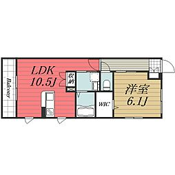 JR成田線 成田駅 バス13分 教習所東下車 徒歩3分の賃貸マンション 3階1LDKの間取り