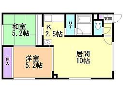 コーポ松野 2階2LDKの間取り