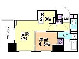札幌市営東豊線 豊水すすきの駅 徒歩3分の賃貸マンション 8階1LDKの間取り