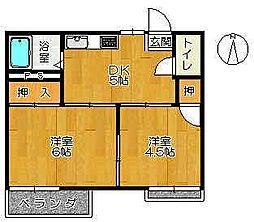 佐賀県佐賀市水ヶ江6丁目の賃貸アパートの間取り