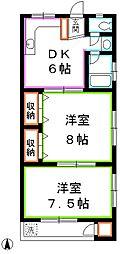 東京都小金井市関野町1丁目の賃貸マンションの間取り