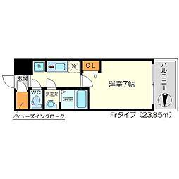 リッツ新大阪 8階1Kの間取り