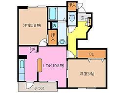 サンライトM・K I II[1階]の間取り