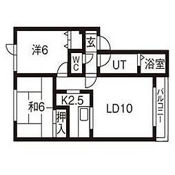 北海道札幌市北区新琴似9条6丁目の賃貸アパートの間取り