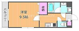 JR宇野線 大元駅 徒歩13分の賃貸マンション 1階1Kの間取り