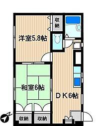 神奈川県川崎市幸区東小倉の賃貸マンションの間取り