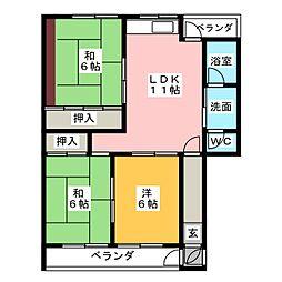 サンシャイン芝野[2階]の間取り