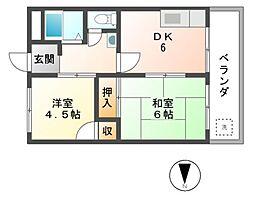 津田コーポ[3階]の間取り