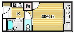 大阪府茨木市戸伏町の賃貸マンションの間取り