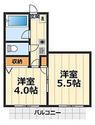 神奈川県大和市南林間2丁目の賃貸マンションの間取り