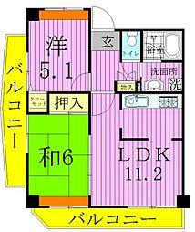 コーポレート竹ノ塚二丁目[5階]の間取り