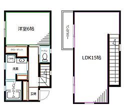 JR中央本線 荻窪駅 徒歩16分の賃貸アパート 2階1LDKの間取り