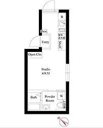 東京メトロ日比谷線 三ノ輪駅 徒歩2分の賃貸マンション 5階ワンルームの間取り
