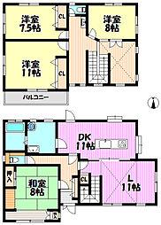 4LDK全居室7.5帖以上ダイニングキッチン11帖で広々リビング11帖、南側で日当たり良好