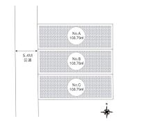 (全体区画図)ゆったりとした5m以上幅の道路をはさんでいることで陽射しを遮られることなくとても明るい敷地。心地よさを追求した全3邸の街並誕生。ライフスタイルに合わせてお選び下さい。お気軽にお問い合