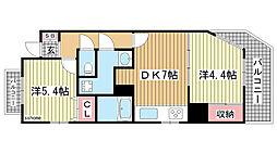 kobe十一屋[2A号室]の間取り