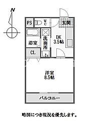 徳島県徳島市南佐古八番町の賃貸マンションの間取り