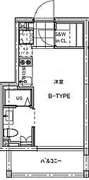 B CITY APARTMENT TACHIKAWA[102号室号室]の間取り