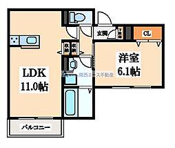 大阪府大阪市天王寺区勝山3丁目の賃貸アパートの間取り
