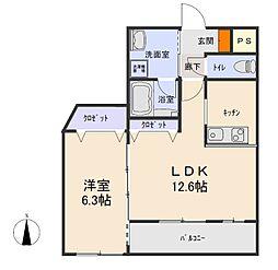 さつきマンション第二 1階1LDKの間取り