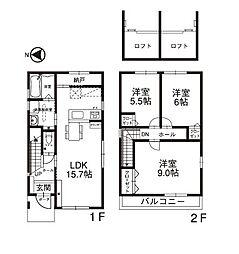 [一戸建] 石川県野々市市本町2丁目 の賃貸【/】の間取り