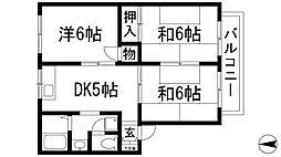 兵庫県宝塚市中山寺1丁目の賃貸アパートの間取り