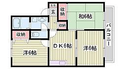 山陽電鉄本線 伊保駅 徒歩9分の賃貸アパート 2階3DKの間取り