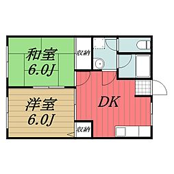 JR成田線 木下駅 徒歩12分の賃貸アパート 1階2DKの間取り