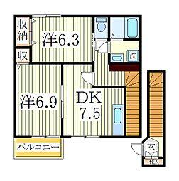 千葉県柏市緑台の賃貸アパートの間取り