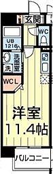 熊本電気鉄道 藤崎宮前駅 徒歩4分の賃貸マンション 2階ワンルームの間取り
