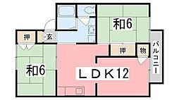 兵庫県姫路市飾磨区中野田3丁目の賃貸アパートの間取り