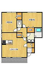 平出町2LDKアパート[1階]の間取り