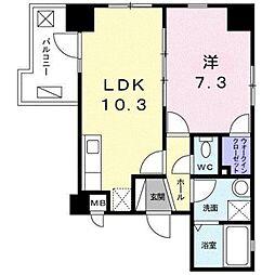 東京メトロ東西線 木場駅 徒歩2分の賃貸マンション 2階1LDKの間取り
