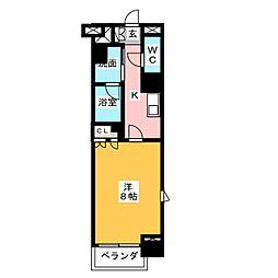 グラン・アベニュー鶴舞公園 8階1Kの間取り