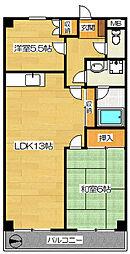 エスポワール西野 4階2LDKの間取り
