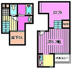 埼玉県さいたま市見沼区蓮沼の賃貸アパートの間取り