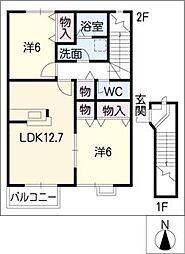アルモニースクウェアC棟[2階]の間取り
