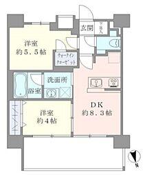東京メトロ千代田線 湯島駅 徒歩6分の賃貸マンション 9階2DKの間取り