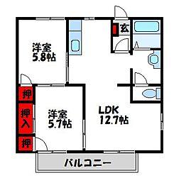 福岡県宗像市日の里3丁目の賃貸アパートの間取り