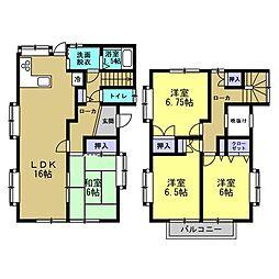 間取り図間取り4LDK、各部屋収納付きのおうちです。出窓が多いので、同じ畳数のお部屋よりも広々感じて頂ける間取りです。