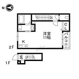 ランフォート天神川テラス 2階1Kの間取り