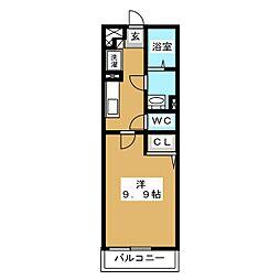 リブリ・ラ・ルーチェ新松戸 2階1Kの間取り
