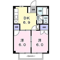 コーポミナミ[2階]の間取り