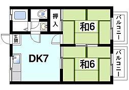 生駒川パークハイツ[2階]の間取り