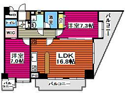 仙台市営南北線 北仙台駅 徒歩8分の賃貸マンション 12階2LDKの間取り