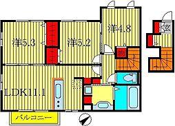 千葉県柏市高南台1丁目の賃貸アパートの間取り