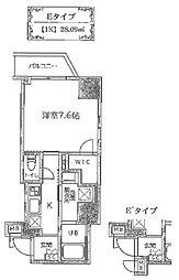 JR山手線 御徒町駅 徒歩7分の賃貸マンション 12階1Kの間取り